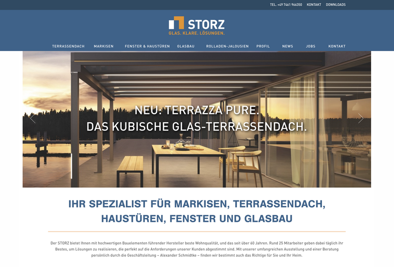 Website Glasbau Storz